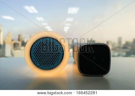 close up glow modern bluetooth and wireless speaker