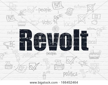 Politics concept: Painted black text Revolt on White Brick wall background with Scheme Of Hand Drawn Politics Icons