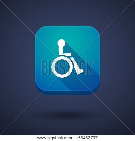 Long Shadow Button With  A Human Figure In A Wheelchair Icon