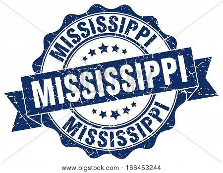 Mississippi. round isolated grunge vintage retro stamp