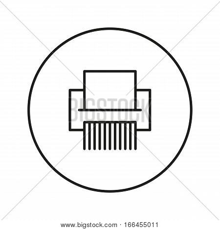 Shredder Paper. Icon for web and mobile application. Vector illustration on a white background. Line