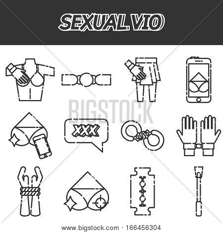 Sexual vio icons set . Gender and sex concept. Items for banners. Isolated on white background