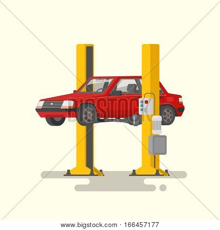 Car repair. Car lifted on autolifts. Vector illustration of a flat design