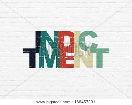 Law concept: Painted multicolor text Indictment on White Brick wall background