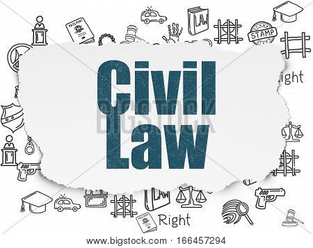 Law concept: Painted blue text Civil Law on Torn Paper background with  Hand Drawn Law Icons