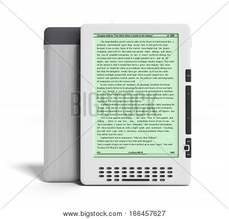 E-book Reader 3D Render Image On White