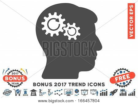 Cobalt And Gray Head Wheels Rotation pictogram with bonus 2017 trend pictures. Vector illustration style is flat iconic bicolor symbols, white background.