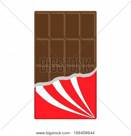 Chocolate bar icon. Opened red wrapping paper foil. Tasty sweet food Milk dark dessert. Rectangle shape Vertical piece. Modern simple style. Flat design. White background Isolated. Vector illustration