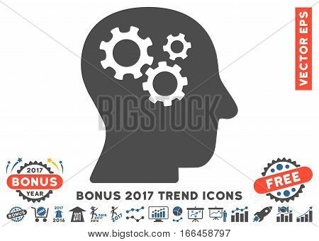 Cobalt And Gray Intellect Gears pictogram with bonus 2017 trend pictures. Vector illustration style is flat iconic bicolor symbols, white background.