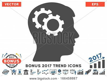 Cobalt And Gray Intellect Gears icon with bonus 2017 year trend pictograms. Vector illustration style is flat iconic bicolor symbols, white background.
