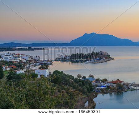 Datca cityscape with lake a seaside town in Mugla Turkey
