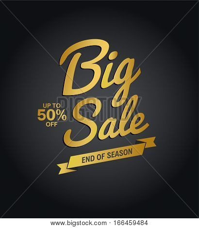 Big Sale End of Season golden calligraphic text.