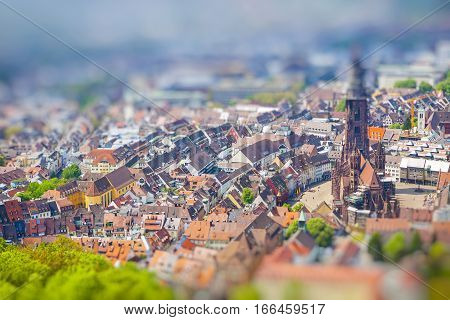 Aerial View Of Freiburg Im Breisgau, Germany. Tilt-shift Miniature Effect
