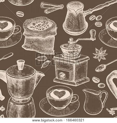 Coffee pot, coffee grinder, coffee cups, donuts, Turkish ibrik, jug of milk. Seamless vector pattern. Black and white art illustration. Vintage. Kitchen design for textiles, paper, packaging, wrapping