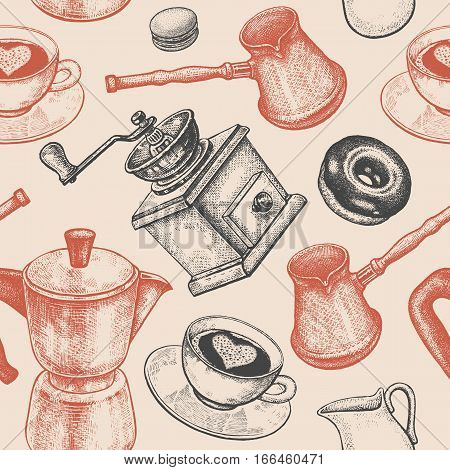 Coffee pot coffee grinder coffee cups donuts Turkish ibrik jug of milk. Seamless vector pattern. Art illustration. Vintage background. Kitchen design for textiles paper packaging wrapping.