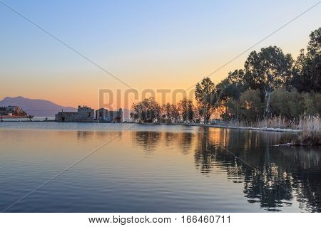 Lake view from side in datca turkey.