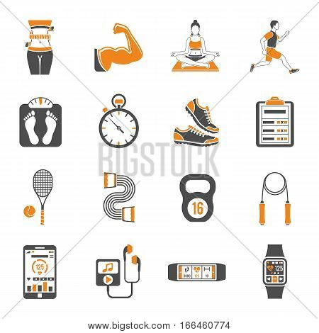 Fitness, Gym, Health two color Icons Set with Yoga, Runner, Scales and Gadgets. Isolated vector illustration