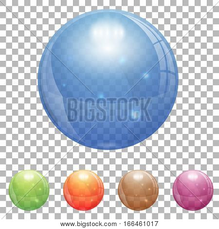 3D Glass Marble Ball in Different Colors on transparent background. isolated vector illustration
