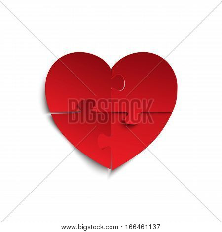Jigsaw puzzle pieces in form of red heart, isolated on white background. Vector illustration.