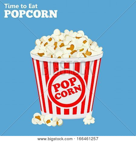 flat icons paper bag full of popcorn, isolated vector illustration