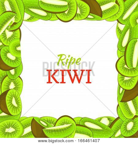 Square colored frame composed of delicious green kiwi fruit. Vector card illustration. Rectangle kiwifruit frame Ripe fresh fruits appetizing looking for packaging design of juice breakfast food