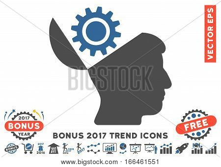 Cobalt And Gray Open Head Gear pictogram with bonus 2017 year trend pictograms. Vector illustration style is flat iconic bicolor symbols, white background.