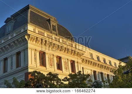 Madrid (Spain): exterior of historic palace near the Park of Buen Retiro