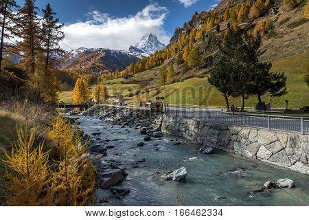 Amazing Autumn panorama of Mount Matterhorn, Canton of Valais, Switzerland