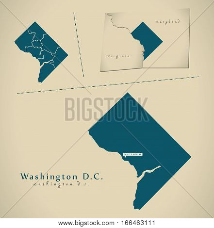 Modern Map - Washington Dc Usa Illustration Silhouette