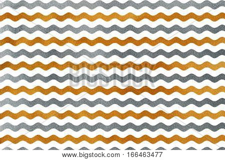 Golden And Silver Wavy Striped Background.