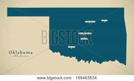 Modern Map - Oklahoma Usa Illustration Silhouette