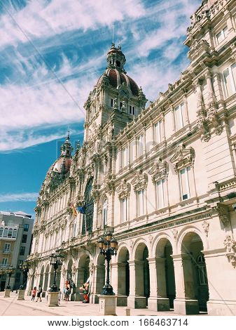 Town Hall (Palacio Municipal) in A Coruña, Spain