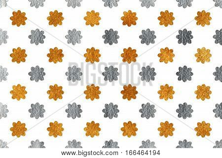 Golden And Silver Flowers On White Background.