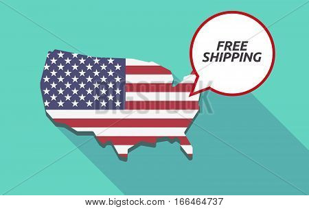 Long Shadow Usa Map With    The Text Free Shipping