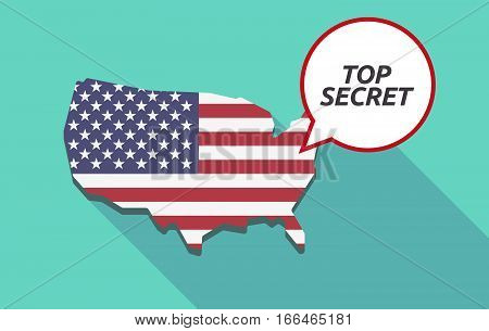 Long Shadow Usa Map With    The Text Top Secret