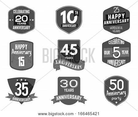 Anniversary badge set. Illustration of anniversary signs and emblems. Flat anniversary logo designs in flat and retro styles. Easy to edit and use your number, text. Anniversary stamp vector isolated