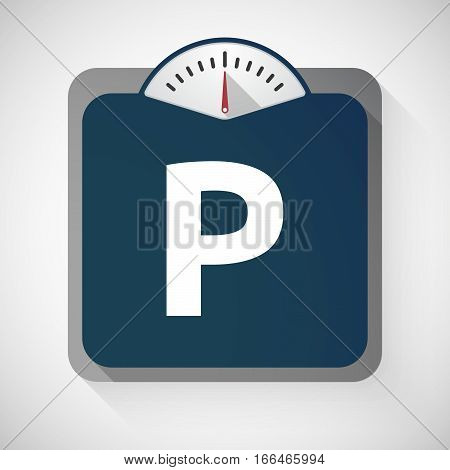 Isolated Weight Scale With    The Letter P