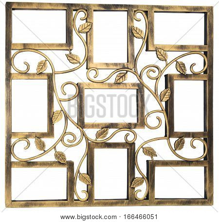 Antique golden photo frame with elements of floral forged ornament. Set 9 nine frames. isolated on white background with empty space