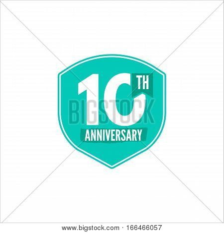 10th Anniversary badge. Illustration of anniversary sign and emblem. Flat anniversary emblem in flat style. Easy to edit and use your number, text. Anniversary stamp vector illustration isolated.