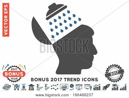 Cobalt And Gray Propaganda Brain wash pictograph with bonus 2017 trend symbols. Vector illustration style is flat iconic bicolor symbols, white background.