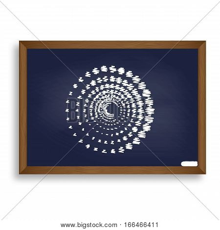 Abstract Technology Circles Sign. White Chalk Icon On Blue Schoo