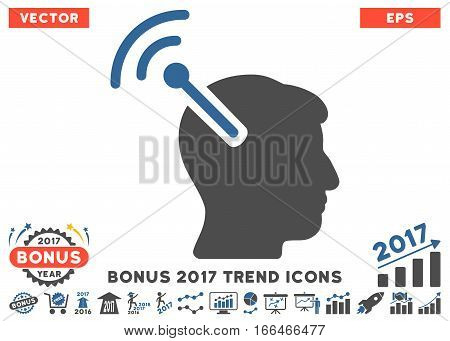 Cobalt And Gray Radio Neural Interface icon with bonus 2017 trend pictograph collection. Vector illustration style is flat iconic bicolor symbols, white background.