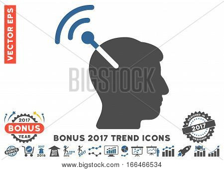 Cobalt And Gray Radio Neural Interface pictograph with bonus 2017 year trend pictograph collection. Vector illustration style is flat iconic bicolor symbols, white background.