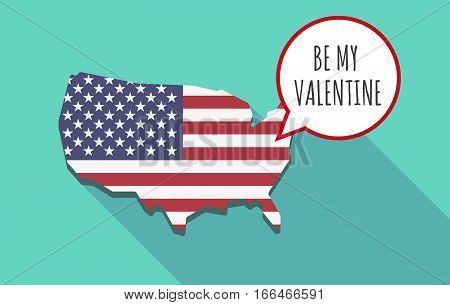 Long Shadow Usa Map With    The Text Be My Valentine