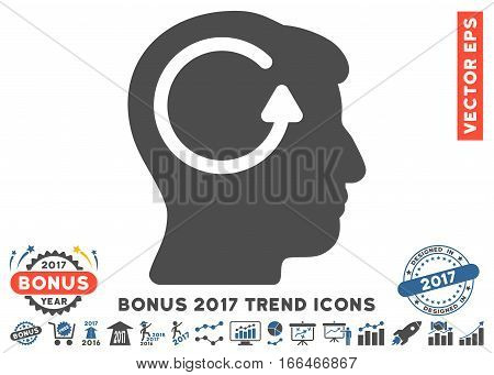 Cobalt And Gray Refresh Head Memory icon with bonus 2017 year trend pictograms. Vector illustration style is flat iconic bicolor symbols, white background.