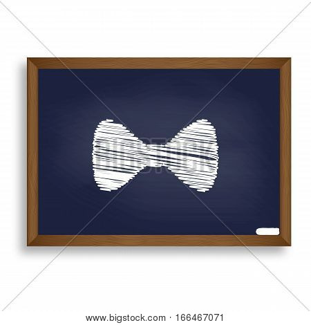 Bow Tie Icon. White Chalk Icon On Blue School Board With Shadow