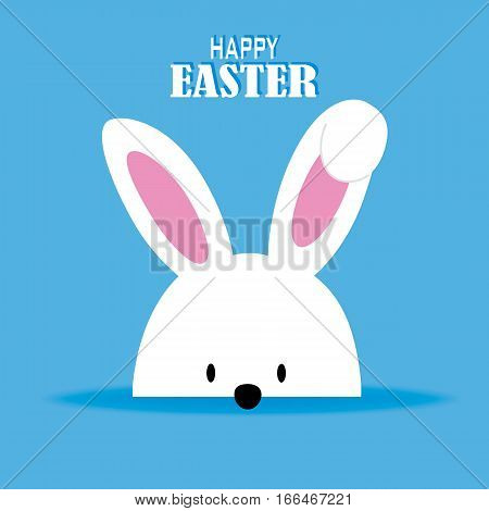 Happy easter card. white rabbit with blue background