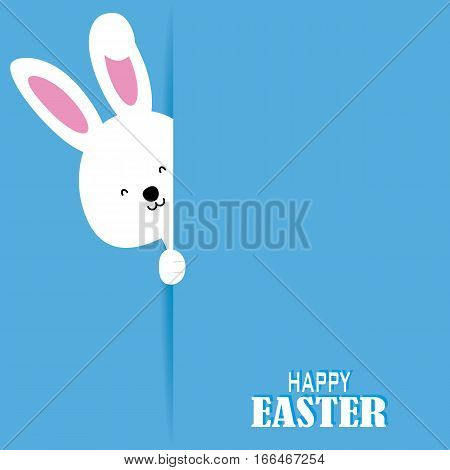 Happy easter card. white rabbit with poster