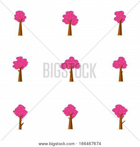 Illustration of pink tree set collection stock