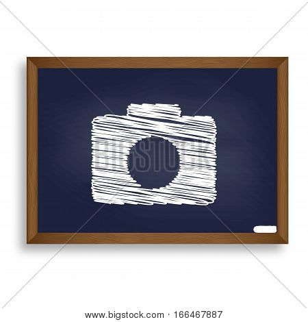 Digital Camera Sign. White Chalk Icon On Blue School Board With